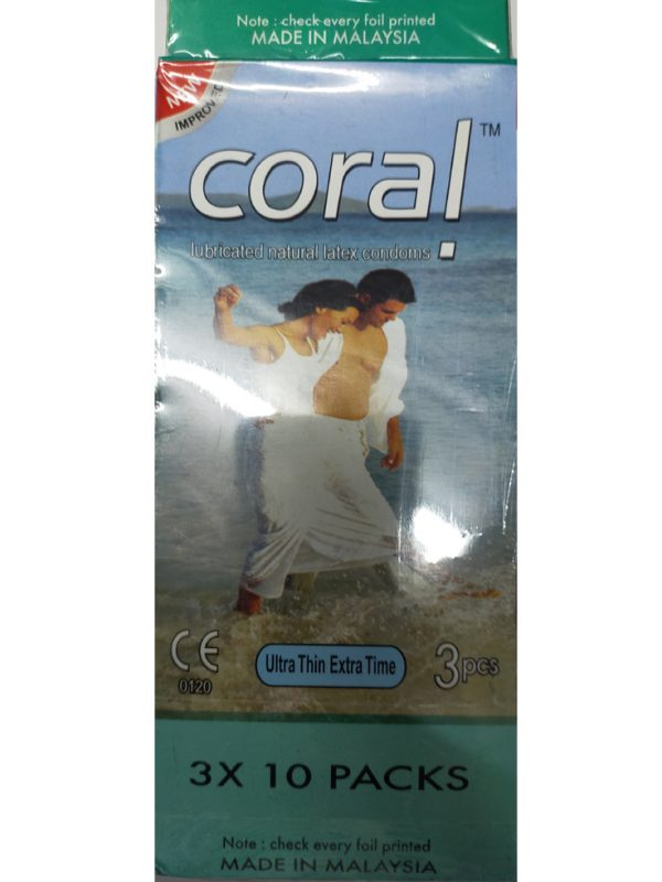 CORAL Ultra Thin Extra Time Condom. Made in Malaysia. Quantity: 11*3= 33 Pieces.