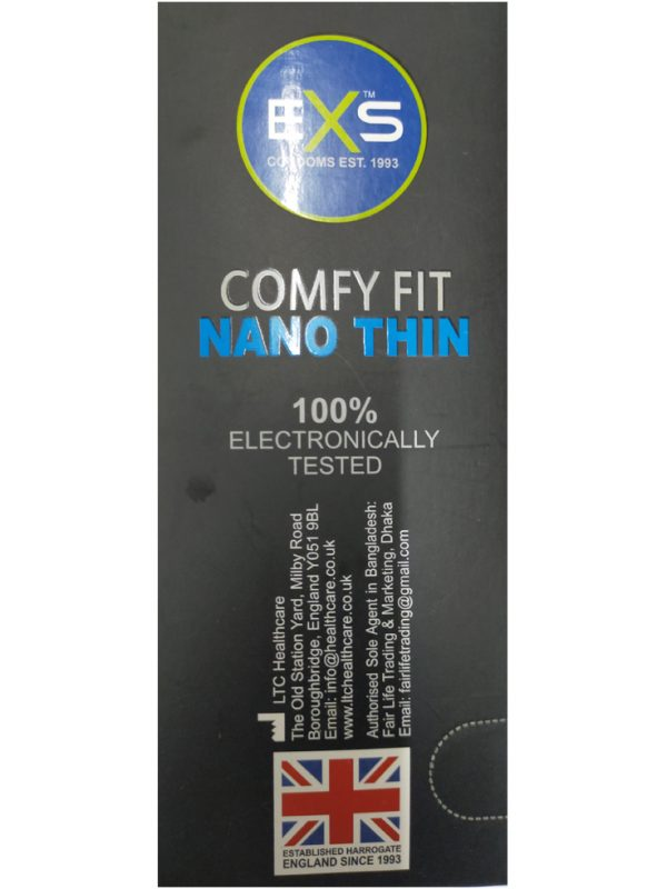 EXS Comfy Fit Nano Thin Black Comdom. Made in UK. Quantity: 10*3= 30 Pcs
