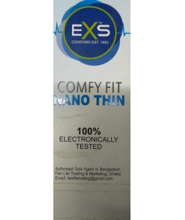 EXS Comfy Fit Nano Thin White Condom. Made in UK. Quantity: 10*3= 30 Pcs
