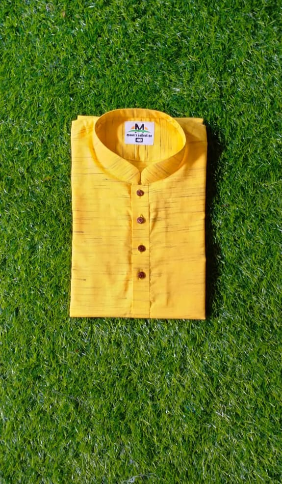Handloom Yellow Khadi Panjabi